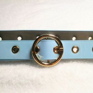 Blue PU Leather Belt